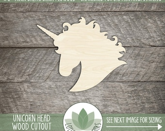 Unicorn Head Wood Shape Cut Out, Wooden Unicorn, Unicorn Party Decorations, Party Favor, Laser Cut Shapes For DIY Projects