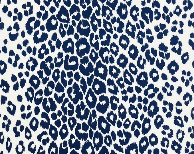 Schumacher OUTDOOR Iconic Leopard in Navy Designer Pillow Cover With or Without Piping - Square, Lumbar and Euro Sizes