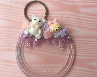 Kawaii Decoden Photo Keychain Purple