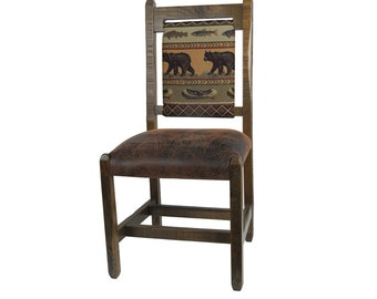 Barnwood Dining Chairs with upholstered seat and back