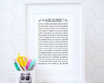 We Are The Makers Print - Studio Art - Makers Gonna Make - Craft Gift - Maker Gift - Knitting gift - Gift for her