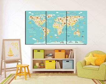 Kids Room World Map,Large Animal Map, Kids room art, Kids Wall Art, Nursery room,Play Room,School Map,Kids Library Map,Animal Blue World Map