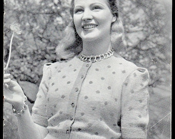 Patons and Baldwin (P and B) Lady's Cardigan Knitting Pattern 892, 1930s