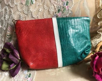 Vintage color blocked textured leather Sharif cosmetics bag, coral turquoise orange yellow lizard textured make up case