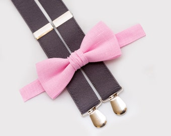 Light Pink Bow Tie & Gray Suspenders Birthday Boys Outfit Toddler Bowties And Suspenders