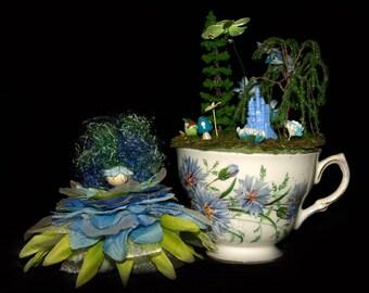 Faerie Lucy and her Teacup Nursery, Fairy, OOAK, Flowers, Diorama, Castle