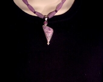 """15"""" Purple Charoite & Star Ruby Pendant Necklace. Hinged Sterling Silver. Amethyst, Matte Resin. tiny Buddha amulet. free US ship 149.00"""