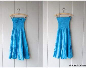 80s Halter Dress Blue Cotton Ruched Summer Sun Dress Strapless Vintage Midi Tiered Dress Womens Small Medium
