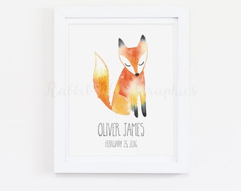 Fox Nursery Print, Woodland Nursery, Custom Name Print, Personalized Baby Name, Birth Date, Baby Boy, Baby Girl, Watercolor, Custom Monogram