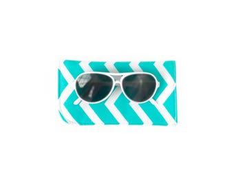 Sunglass Case - Chevron Sunglass Pouch - Turquoise Sunglass Pouch - Padded Sunglass Case - Fabric Sunglass Case - Fabric Eyeglass Pouch
