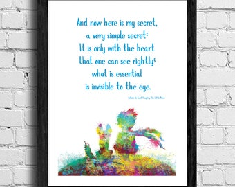 "The Little Prince - Quotation poster in various sizes - ""And now here is my secret, a very simple secret:..."""