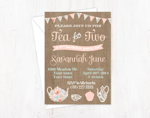 Tea For Two Invitations 2 Invitation Birthday Party Invites Girl 2nd Invite Pennant Shabby PRINTABLE