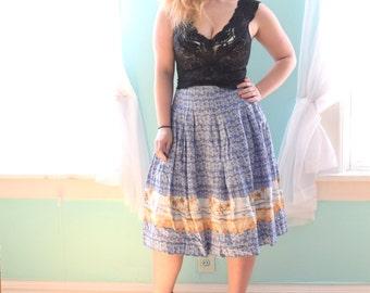 90s does 50s Skirt   Blue Skirt   Novelty Print Skirt   Circle Skirt   Medium Skirt M   Size 8 Skirt   Spring Skirt Party   Beach Skirt
