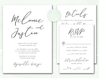 Printable Wedding Invitation, Wedding Invite, DIY Invitation Suite, Custom Colors | DIGITAL PRINTABLE