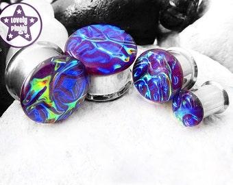 "Alien Skin Psychedelic Breakfast Plug / Gauge Textured Purple Blue Rainbow Faux Dichro Dichroic 0g, 00g, 7/16"" / 8mm, 10mm, 11mm"