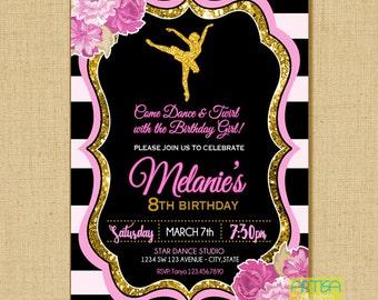 Ballet Birthday Invitation Printable File DIY, Black Pink Gold Ballet Invitation, Ballet glitter invitation, ballet birthday invitation DIY