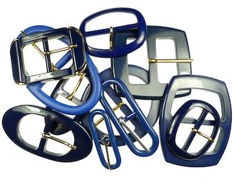 Vintage belt buckles dark blue mix