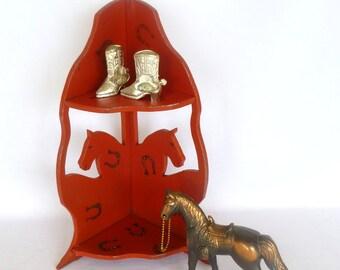 Vintage RED HORSE Corner SHELF