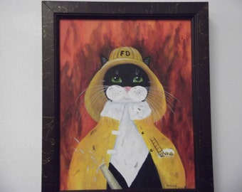 Fat Cat as A Firefighter Framed 8 X 10 Acrylic Painting