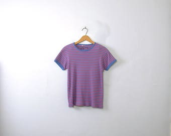 Vintage 80's striped ringer tee, blue and pink shirt, size xs