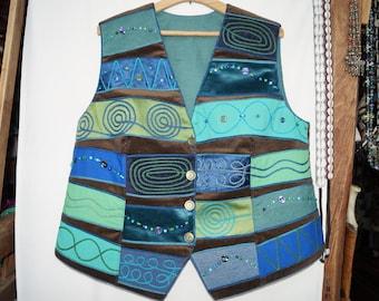 Turquoise waistcoat, emroidered waistcoat, bohemian waistcoat, festival waistcoat,hungarian folk waistcoat, hippie waistcoat, boho waistcoat