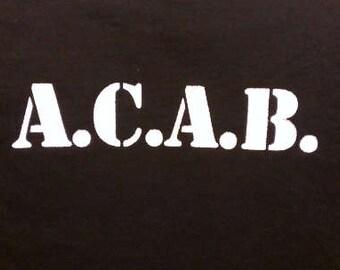 Kid's T-Shirt A.C.A.B Screen Print in Kids S-L