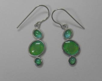 Sunshine on the sea, blue/green pebble earrings