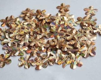 50 pcs Stripes Textured Rainbow Metallic Color Flower Sequins / 2cms size/KBBF452