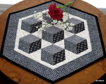 Quilted Table Topper, Floating Blocks, Black and White