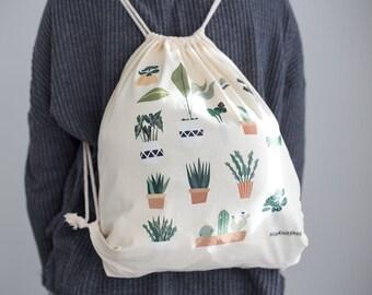 Plant lover drawstring bag