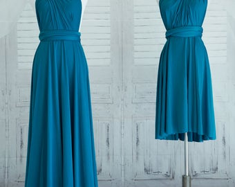 Teal blue Bridesmaid Dress Wrap dress Convertible Infinity Dress Evening Dresses-C23#B23#