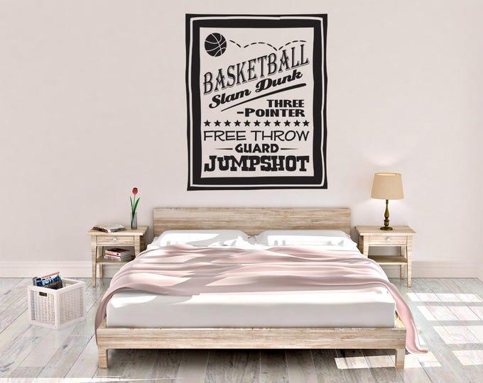Basketball Poster - Basketball Wall Decal - Sports Poster Decal - Wall Decal - Basketball - Wall Decor - Sports Decor - Sports Decal
