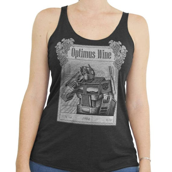 Transformers Shirt - Optimus Prime Shirt - Wine Shirt - Optimus Wine Hand Screen Printed on a Womens Tank Top - Wine Shirt - Wine Lover Gift