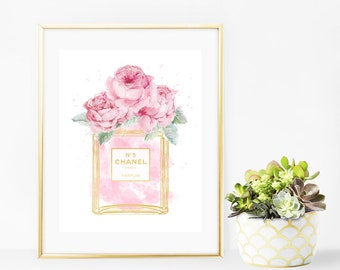Chanel No 5 Perfume Bottle Pink Roses Faux Gold Art Print - Instant Digital Download
