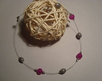 Simple grey and pink beads fashion necklace