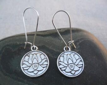 Silver Lotus Flower Earrings - Yoga Meditation Jewelry - Simple Everyday Silver Earrings