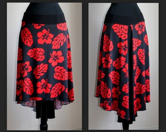 Floral Black and Red Print Skirt