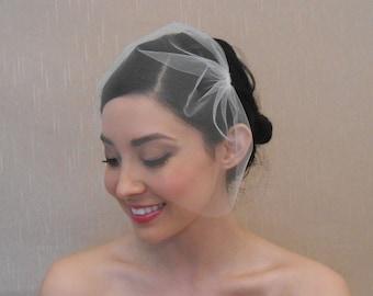 Hochzeit Mini Tüllschleier in leicht Elfenbein Off-White weiß erröten Champagner Gold-matt-schwarz - bereit zu versenden innerhalb von 3-5 Werktagen