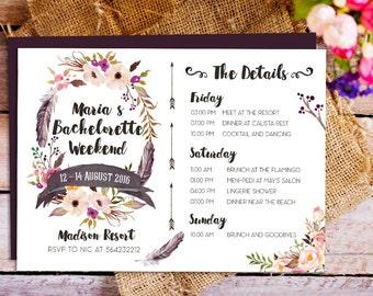 Bachelorette Schedule Timeline Invitation, Bachelorette Party Itinerary, Bachelorette Party, Bachelorette Weekend invitation, Rustic Boho