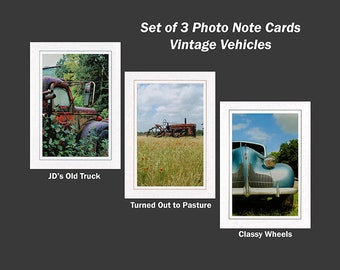 Vintage Vehicles, Set of 3 Photo Note Cards