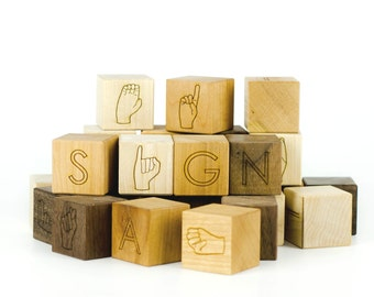 Sign Language - ASL Wooden Blocks - Baby Shower Gift - Teacher Gifts