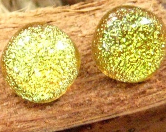 Yellow Glass Earrings, Yellow Dichroic Post Earrings, Fused Glass Earrings, Lemon Yellow Dichroic Fused Glass Button Earrings