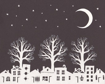 Night Under The Flowering Pears - 8 x 10 inch Cut Paper Art Print