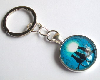 Cat Keyring ~ Blue Moon Cats Keychain ~ Cats Bag Charm ~ Cat Lover Gift ~ Black Cats