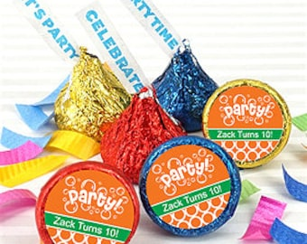 Kids Birthday Party Personalized Candy Kisses - 100 Pieces - Assorted Colors