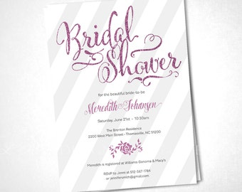 Glitter Calligraphy Baby or Bridal Shower Invite - Pink - DIY Printable
