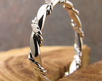 Flat and Double Twisted Rope Argentium Sterling Stacking Ring