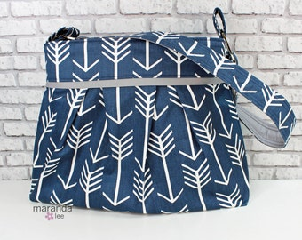 Diaper Bag - Stella Large - Navy Arrows wtih Grey -  READY to SHIP  Nappy Bag Stroller Attachment