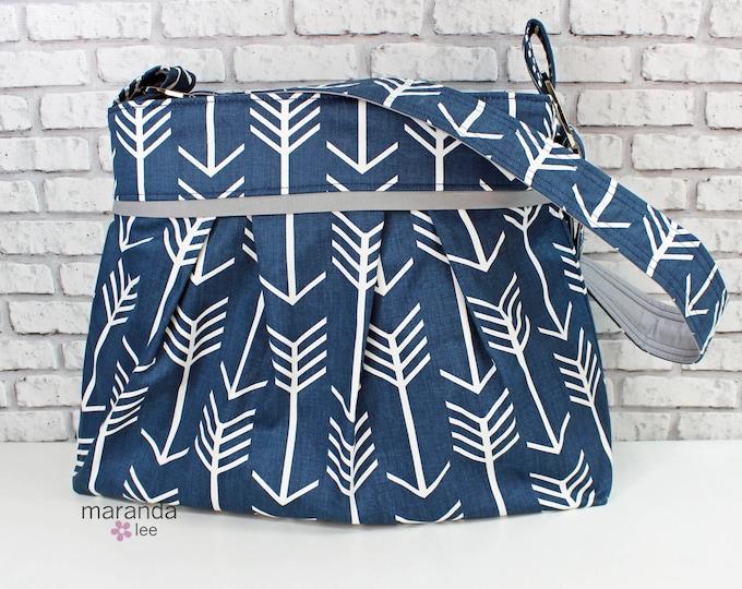Diaper Bag - Stella Large - Navy Arrows wtih Grey -  READY to SHIP