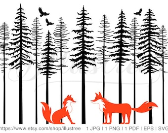 Cute foxes in forest, printable wall art, digital art print, nursery art print, digital clipart, jpg, png, eps, svg files, instant download
